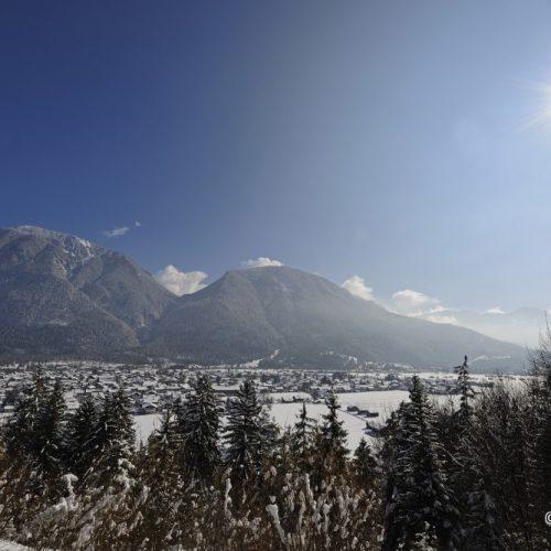 Zugspitze Umland Region Landschaft Schnee Berge Alpen Winter