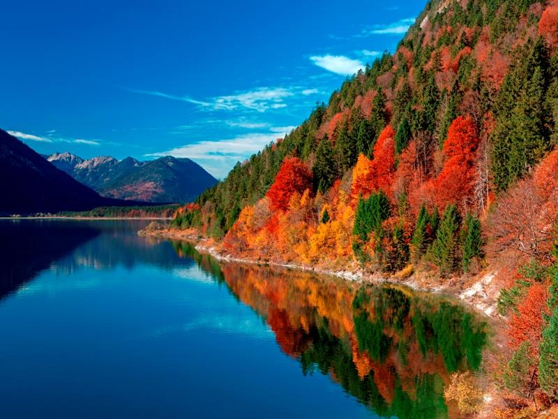 Herbst am Sylvensteinstausee, Fall, Lenggries, Oberbayern, Bayern, Deutschland