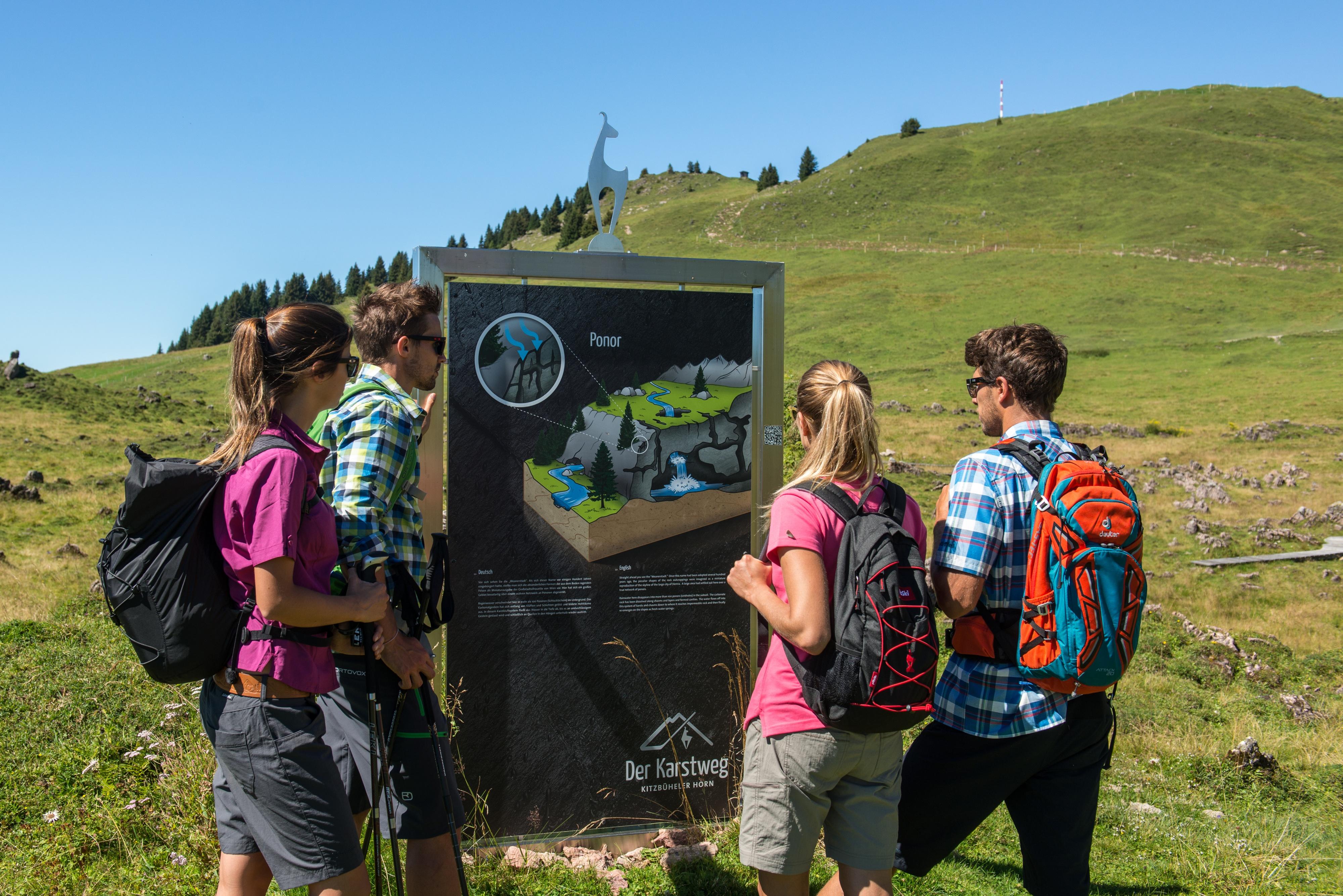 Wanderung Kitzbühel Gruppe Freunde Plakat Beschilderung Weg