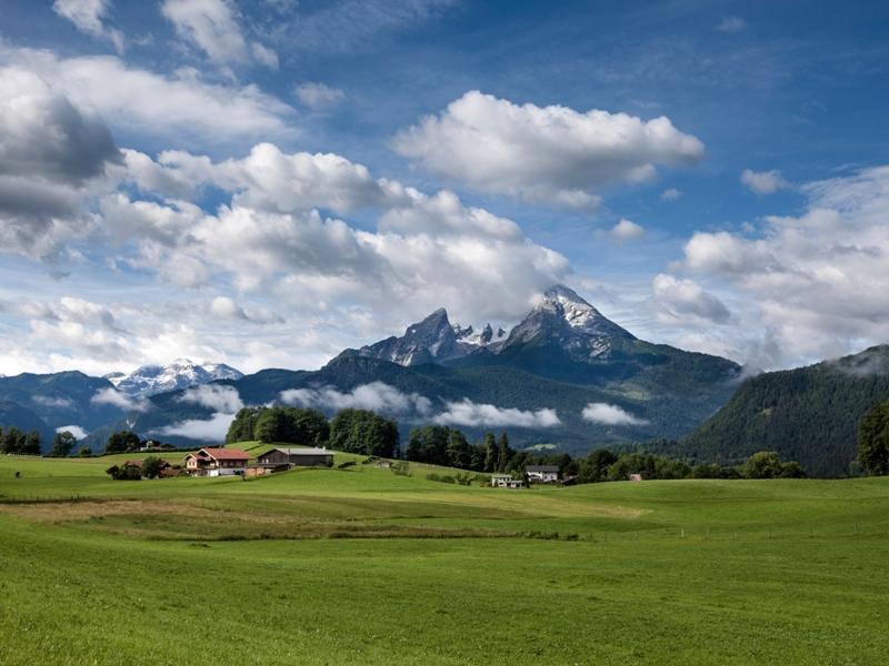 Berg Wiese Himmel Wolken
