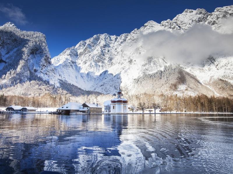 Königsee im Nationalpark Berchtesgaden im Winter