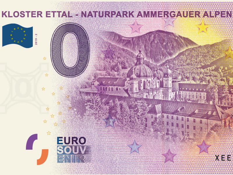 Null-Euro-Schein Naturpark Ammergauer Alpen Kloster Ettal Mende
