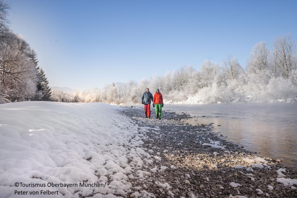 Spaziergang Winter Isar Tölzer Land