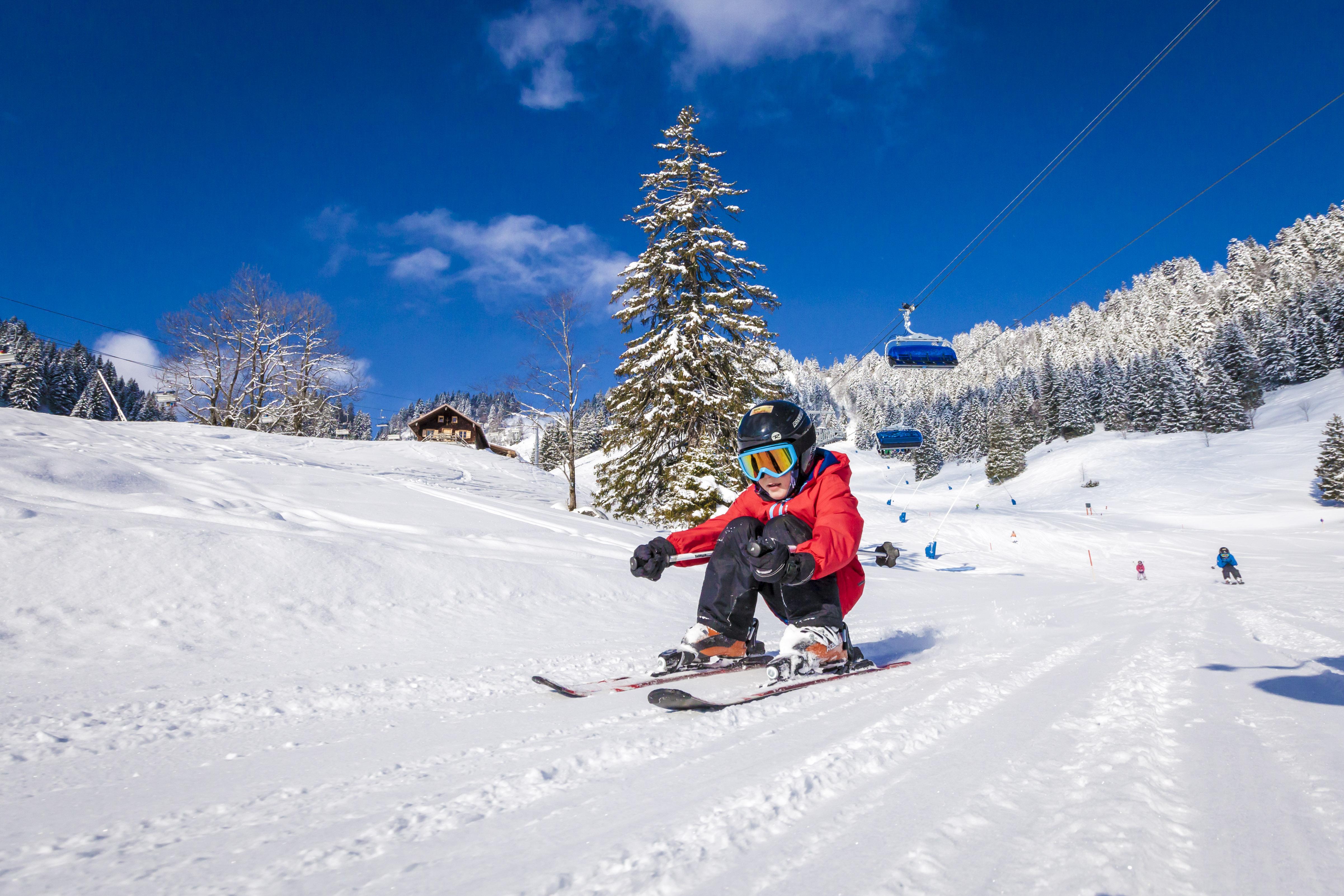Kleiner Skifahrer, Piste, Sessellift