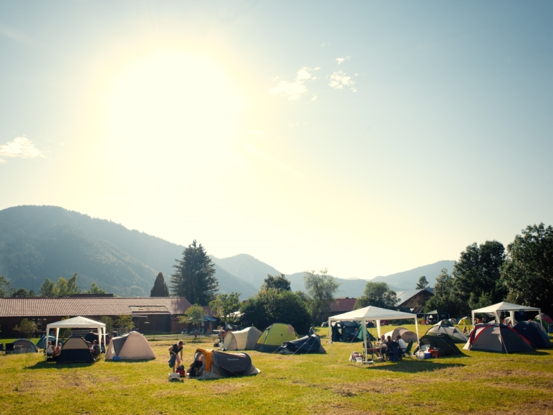 Wiese Zeltcamping Passionsspiele