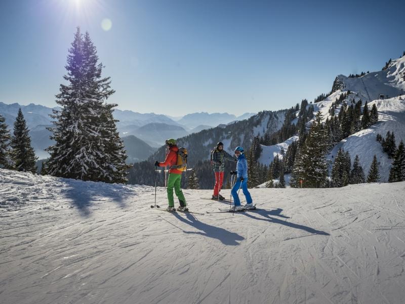 3 Skiläufer Brauneck Abfahrt