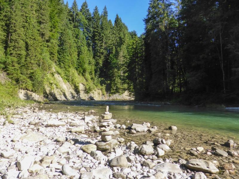 Ammer Flussbett durch Wald Steinmanschkerl