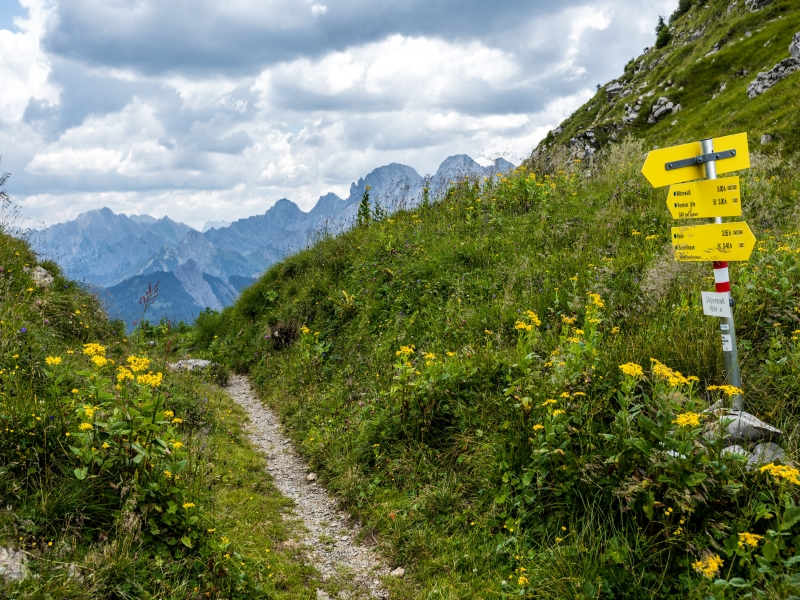 Wanderweg Beschilderung Berge