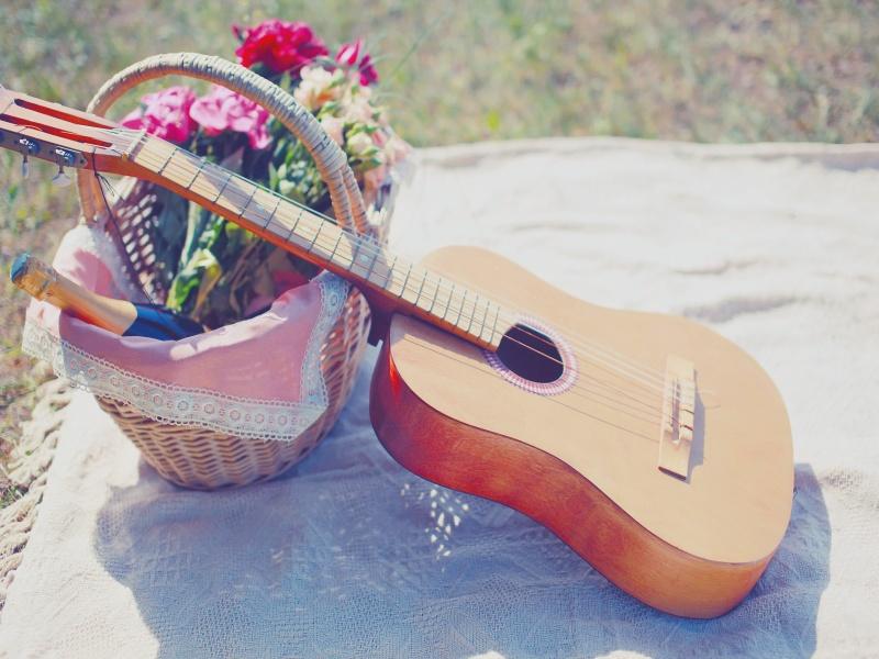 Picknickkorb und Gitarre