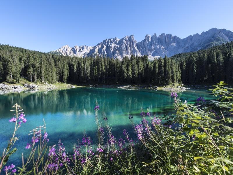 Karer See türkises Wasser Wald Berge