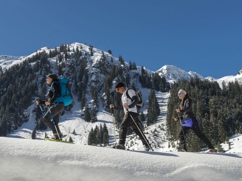3 Personen beim Schneeschuhwandern
