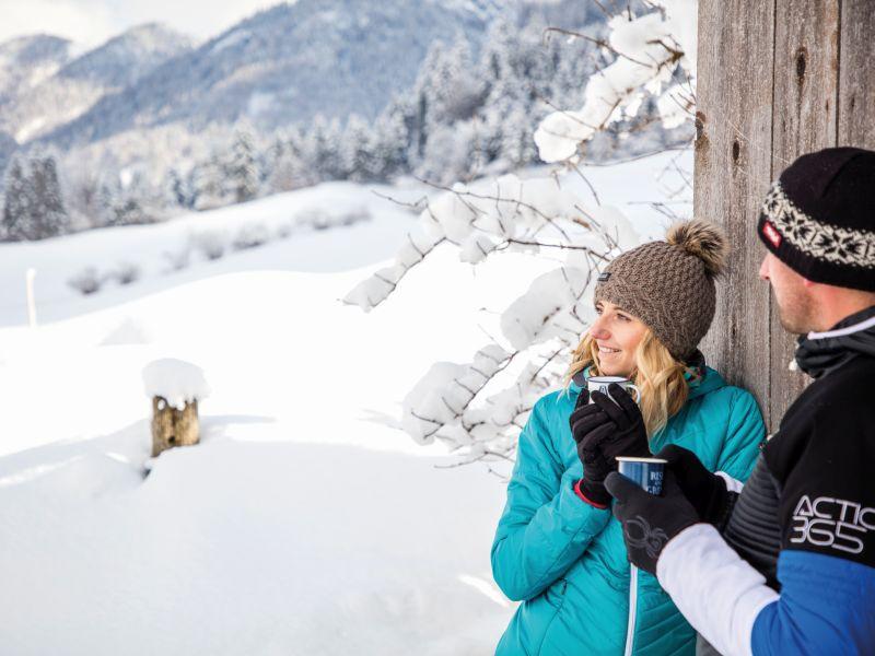 Pause beim Winterwandern